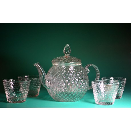 Glass Tea Set with Teapot & 4 Teacups