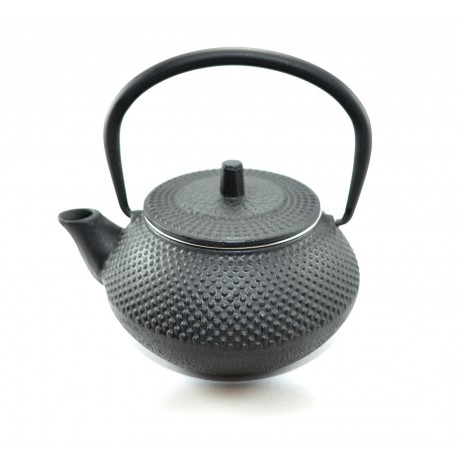Black cast iron teapot with infuser