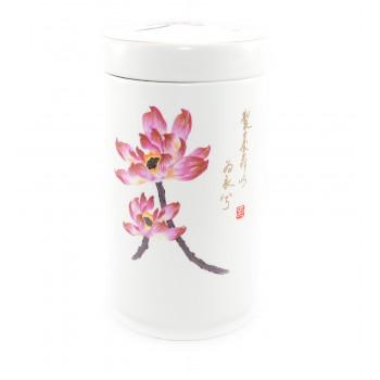 ที่เก็บใบชา ลายดอกบัวสีชมพู