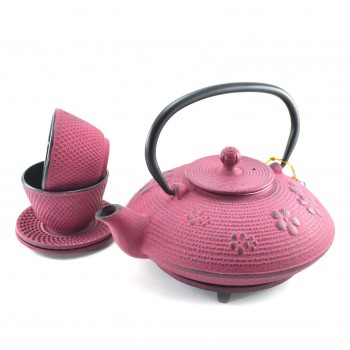 Pink Flower Cast Iron Tea Set