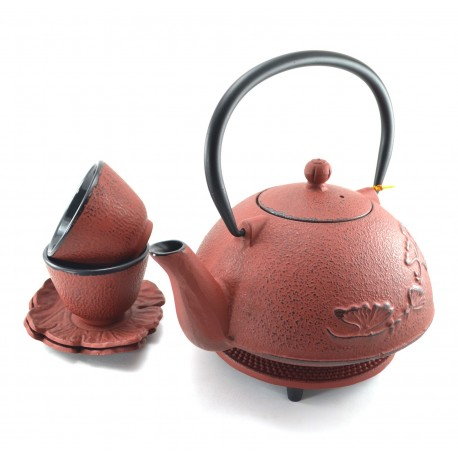 Orange Cast Iron tea set