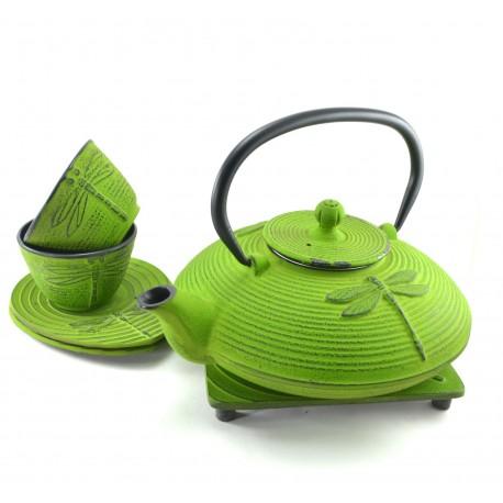 Green Dragonfly Cast Iron tea set