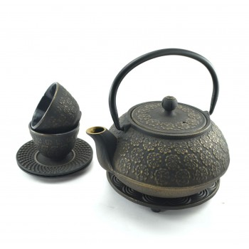 Gold Flower Cast Iron tea set