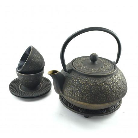 Gold Flower Cast Iron tea set