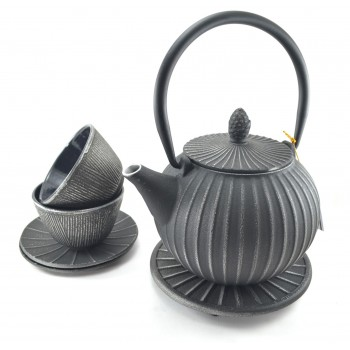 Silver Cast Iron Tea Set