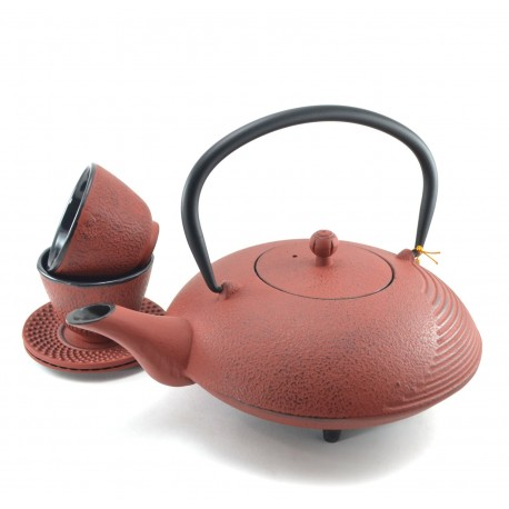 Sandy Brown Cast Iron Tea Set