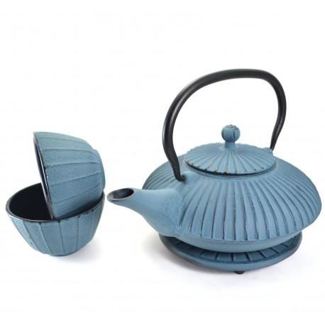 Blue Cast Iron Tea Set
